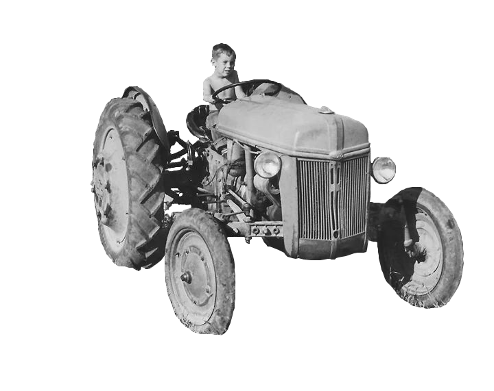 BW Old Tractor and Boy Trans Rev 1